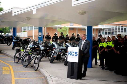 Knox County Schools Security Chief Gus Paidousis speaks during a Knox County Schools traffic safety press conference at Whittle Springs Middle School in Knoxville, Tennessee on Friday, August 2, 2019.