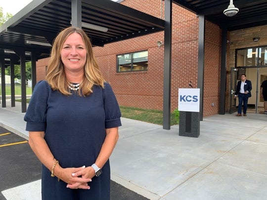 Inskip Elementary School Principal Lynn Jacomen stands outside the newly renovated school Aug. 1, 2019. She said she is excited students will no longer be in portable classrooms.