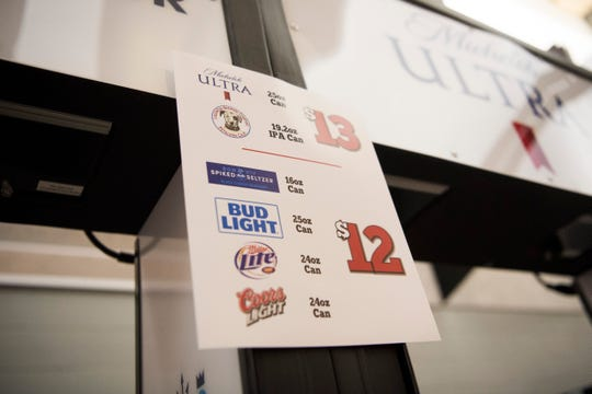 A  beer menu is posted on a kiosk where beer will be sold in Thompson-Boling Arena on University of Tennessee's campus Friday, Aug. 2, 2019.