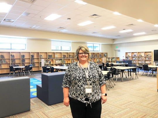 """Inskip Elementary School Librarian, Amy Collins, is new to the school this year and was excited to show off the new spacious media center at the front of the school. """"I was just in a little box in my last school, this is state of the art,"""" said Collins."""