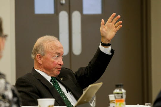 Purdue president Mitch Daniels speaks during a Purdue board of trustees meeting, Friday, Aug. 2, 2019 at Stewart Hall in West Lafayette.