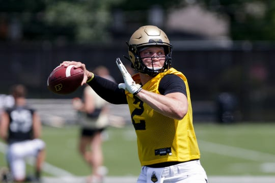 Purdue quarterback Elijah Sindelar (2) throws during practice, Friday, Aug. 2, 2019 at Bimel Practice Complex in West Lafayette.