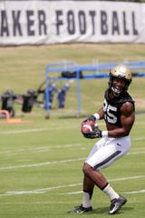 Purdue running back Tario Fuller (25) reacts during practice, Friday, Aug. 2, 2019 at Bimel Practice Complex in West Lafayette.