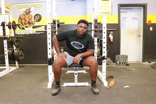 Church Point defensive tackle Tony Gibson is pictured during a recent summer workout at the school.