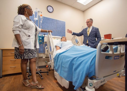 Graciana Breaux - RN Instructor provides tour of the South Louisiana Community College Campus for Gov. John Bel Edwards. Friday, Aug. 2, 2019.