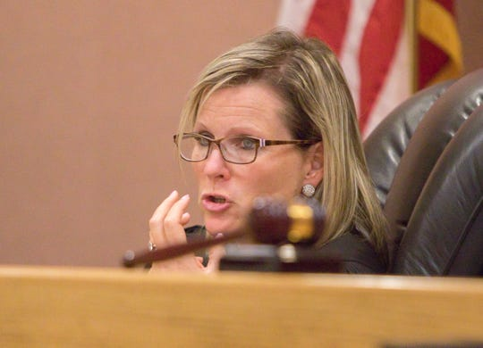 Livingston County Judge Miriam Cavanaugh explains considerations in imposing sentence to Lawrence Sefa Friday, Aug. 2, 2019.