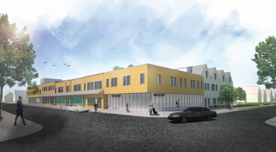 A rendering of the Allen Place redevelopment project at the current site of the Allen Neighborhood Center.