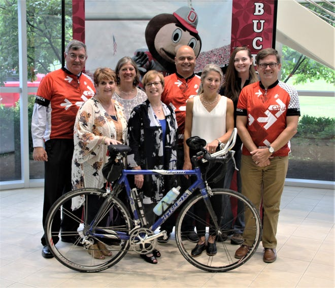 Team Buckeye-Team Marion participated in the 11th annual Pelotonia this weekend. Members of the team include, back row, from left, Dave Claborn, Leslie Beyer-Hermsen, Ruben Petreaca, and Bailey Lucas; front row, from left, Maryjo Mundey, Myra Wilson, Sally McNamara Hughes, and John Maharry.