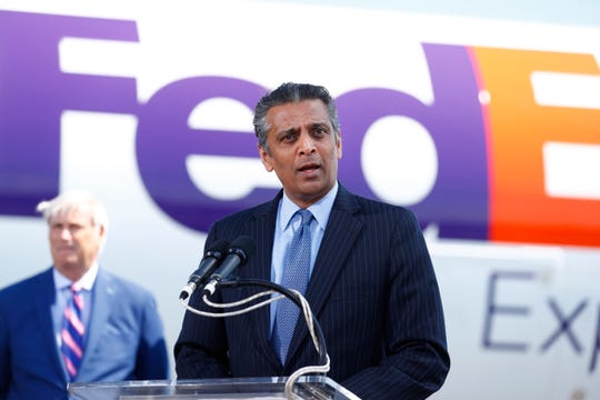 FedEx Express President and CEO Raj Subramaniam speaks during a news conference to announce a $450 million investment in the Memphis hub Aug. 2, 2019.