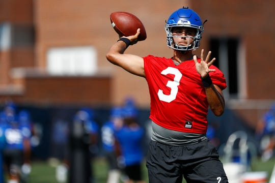 Brady White throws the ball during a drill as the Memphis Tigers Football team holds their first fall practice at the Billy J. Murphy Athletic Complex on Friday, Aug 2, 2019.