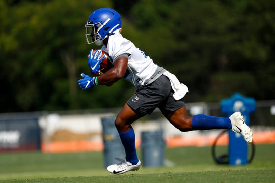 Kenneth Gainwell runs a drill as the Memphis Tigers Football team holds their first fall practice at the Billy J. Murphy Athletic Complex on Friday, Aug 2, 2019.