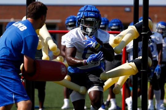Patrick Taylor Jr. runs a drill as the Memphis Tigers Football team holds their first fall practice at the Billy J. Murphy Athletic Complex on Friday, Aug 2, 2019.