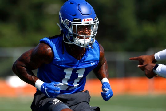 Joey Bryant runs a drill as the Memphis Tigers Football team holds their first fall practice at the Billy J. Murphy Athletic Complex on Friday, Aug 2, 2019.