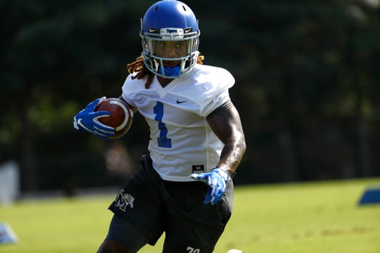Traveon Samuel runs a drill as the Memphis Tigers Football team holds their first fall practice at the Billy J. Murphy Athletic Complex on Friday, Aug 2, 2019.