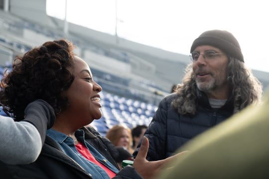 "Actor Sherri Shepherd, left, and director Tom Shadyac on the set of ""Brian Banks,"" a Bleecker Street release. The movie filmed in Memphis in 2017."