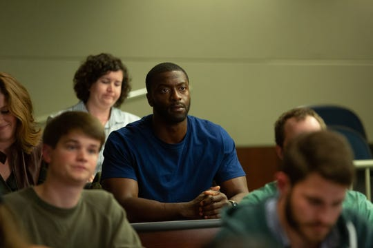 "Aldis Hodge is a wrongfully imprisoned football played in the true story, ""Brian Banks."""