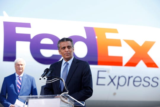 FedEx Express President and CEO Raj Subramaniam speaks during a press conference to announce a $450 million investment in Memphis hub from the Memphis executive airport terminal on Friday, Aug. 2, 2019.