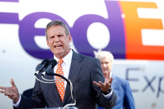 Gov. Bill Lee speaks during a press conference to announce a $450 million investment in Memphis hub from the Memphis executive airport terminal on Friday, Aug. 2, 2019.
