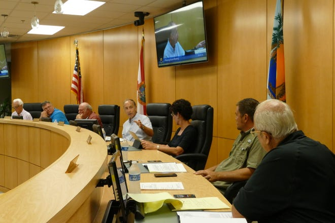 "Marco Island planning board meets Aug. 2, 2019. From left to right: Harry ""Mike"" Finkle, David Vergo, Edgar ""Ed"" Issler, Ron Goldstein, Claire Babrowski, Jason Bailey and Joe Rola."