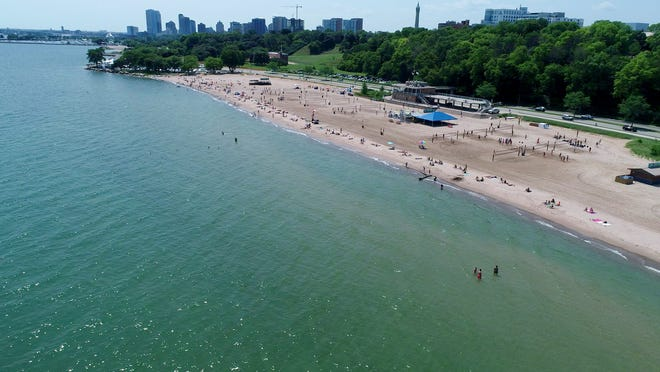 Bradford Beach and the Lake Michigan lakefront in Milwaukee are seen July 24. Some beaches along the lake are smaller because high water is swallowing up feet of sand.