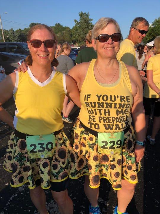 Glenda and Suellen Adams made skirts for the first Sunflower Days 5K.