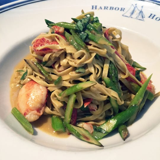 Tagliatelle with Lobster & Asparagus is served at Harbor House restaurant.