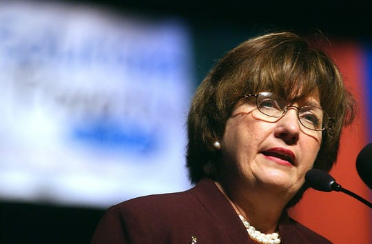 Louisiana Gov. Kathleen Blanco addresses the audience during the Solutions to Poverty Summit at the Monroe Civic Center on Dec. 6, 2004. Brandi Jade Thomas/The News-Star