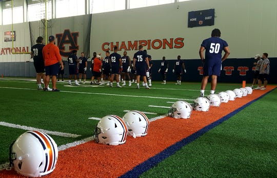 Auburn's offensive line during the team's first practice of fall camp on Aug. 2, 2019.