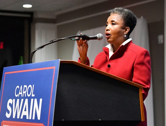 Carol Swain concedes at her watch party at the Millennium Maxwell House Hotel Thursday, Aug. 1, 2019, in Nashville, Tenn.