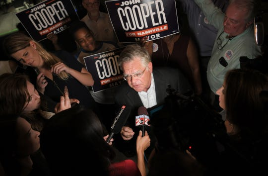 Mayoral candidate John Cooper speaks to the media during an election night party at the Elks Lodge on Jefferson Street in Nashville on Thursday, August 1, 2019.