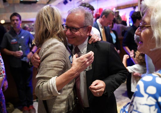Mayor David Briley greets supporters at his election night event at Woolworth on 5th in Nashville, Tenn., Thursday, Aug. 1, 2019.