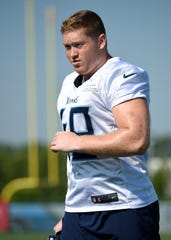 Titans tight end Parker Hesse (49) takes the field for practice at Saint Thomas Sports Park Friday, Aug. 2, 2019, in Nashville, Tenn.
