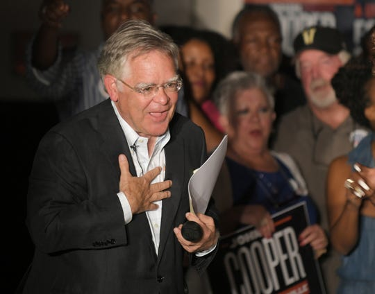 Mayoral candidate John Cooper interacts with supporters during an election night party at the Elks Lodge on Jefferson Street in Nashville on Aug. 1, 2019.