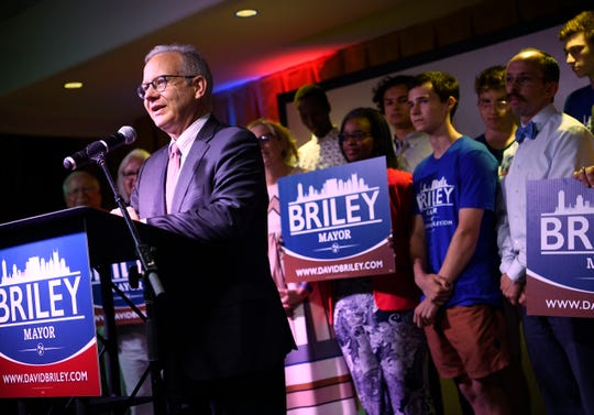 Mayor David Briley speaks at his election night event at Woolworth on 5th in Nashville, Tenn., Thursday, Aug. 1, 2019.