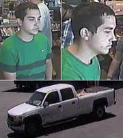 This man is suspected of using stolen credit cards at several area businesses. He's believed to be driving a white, 4-door Chevrolet pickup.