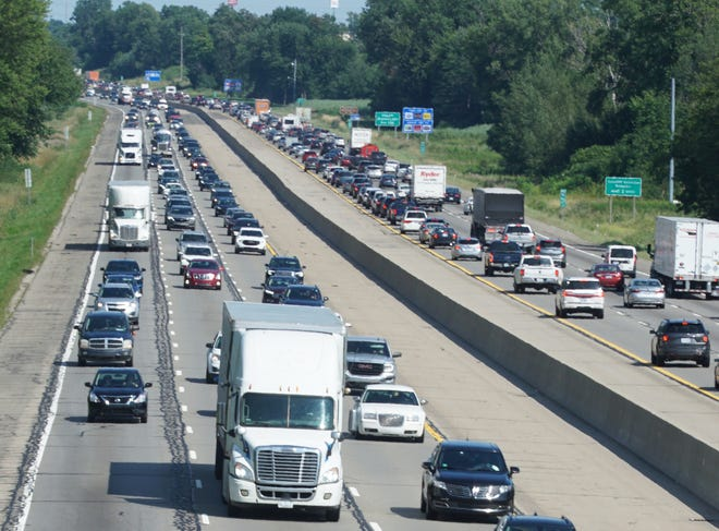 I-96 westbound, at left, on Aug. 2 in the late afternoon.