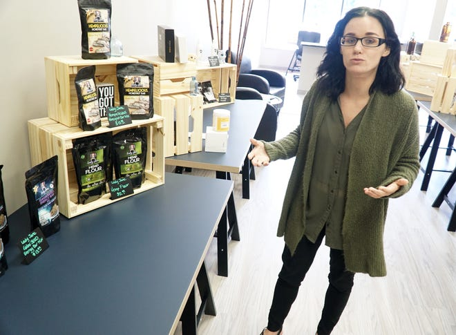 Care by Design Consumer Care Consultant Gina Marr talks about some of the many products their Grand River Ave. shop carries that contain hemp or CBD extract. Care by Design opened the first week of August at 32746 Grand River Ave.  There are some hemp-containing energy bars at left which are popular with their customers.