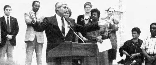 On Sept. 26, 1989, Lt. Gov. Paul Hardy addressed the crowd on the courthouse square in downtown Opelousas for the official dedication of the Opelousas Historic District that was entered into the National Register of Historic Places that year.