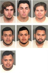Arrested on July 18, 2019, in connection with a street racing crackdown in Coachella were, from left, top row, Carson Moore, Scott Collins and Emilio Garcia; second row, Abelardo Busto-Delgado, Guillermo Busto-Delgado and Francisco Barajas; and Juan Vela Graciano.