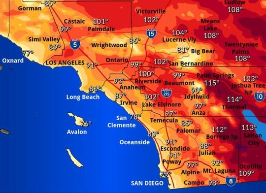 The National Weather Service in San Diego forecasts Palm Springs will be the hottest community in Southern California on Friday, with highs expected at 115 degrees.