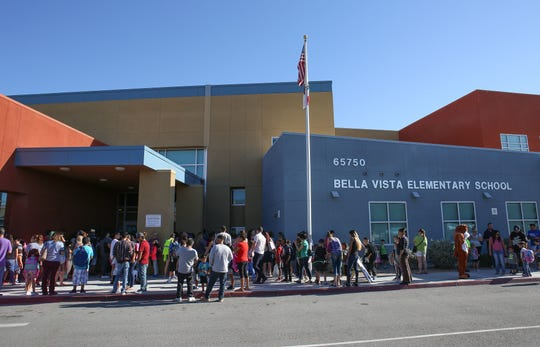 Students and parents line up for the first day of school at Bella Vista Elementary in Desert Hot Springs in 2017.