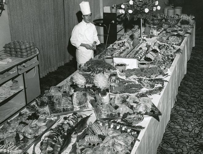 Executive chef Werner Futterer at the  El Mirador Hotel's opulent display of Sunday buffet
