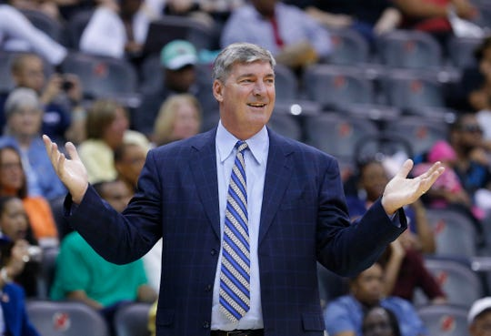 Aug 16, 2013; New York, NY, USA;  New York Liberty head coach Bill Laimbeer questions officials call during the second half against the Washington Mystics at the Prudential Center. Washington Mystics defeat the New York Liberty 66-57. Mandatory Credit: Jim O'Connor-USA TODAY Sports