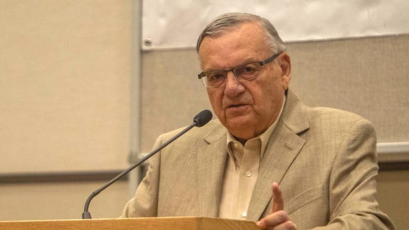 Former Maricopa County Sheriff Joe Arpaio speaks at a meeting of the Fountain Hills Republican Club on July 20, 2019.