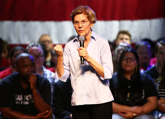 Democratic presidential candidate U.S. Sen. Elizabeth Warren hosts a town hall meeting at the Marquee Theater on Aug. 1, 2019, in Tempe.