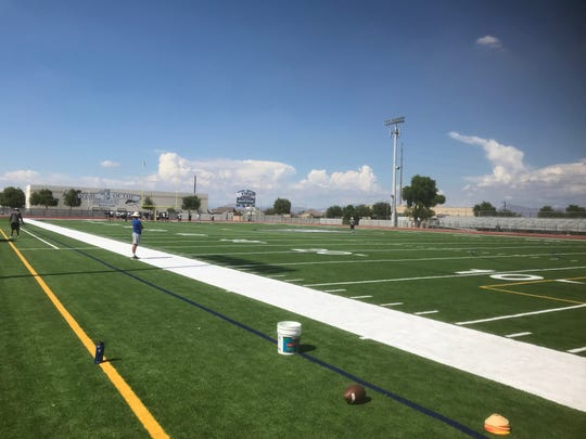 The football field at Higley High School in Gilbert, Arizona.