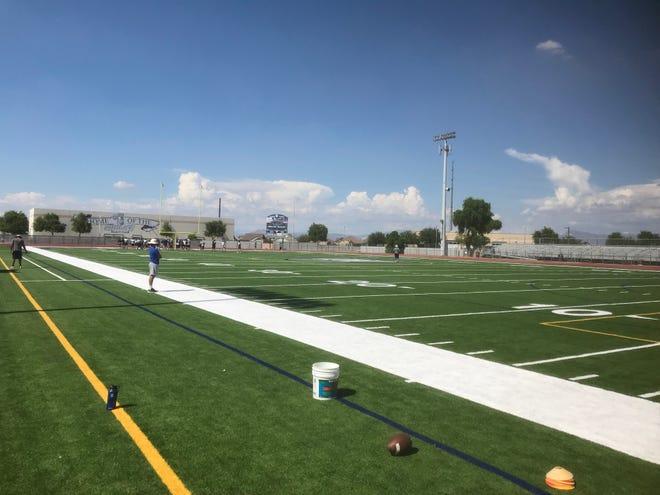 The football field at Higley High School in Gilbert, Arizona.