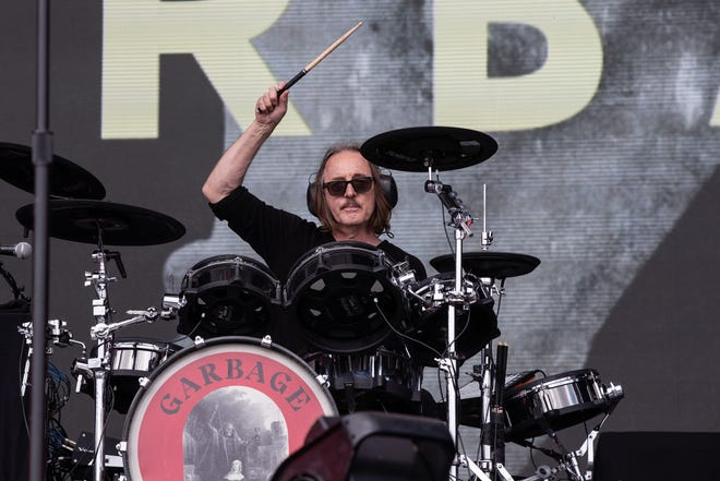 Garbage drummer Butch Vig performs in 2019 at AT&T Stadium in Arlington, Texas.