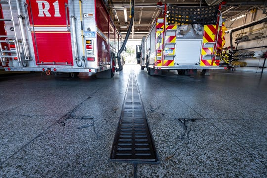 Cracks are seen in the floor of the bays at Port Huron Fire's Central Station.