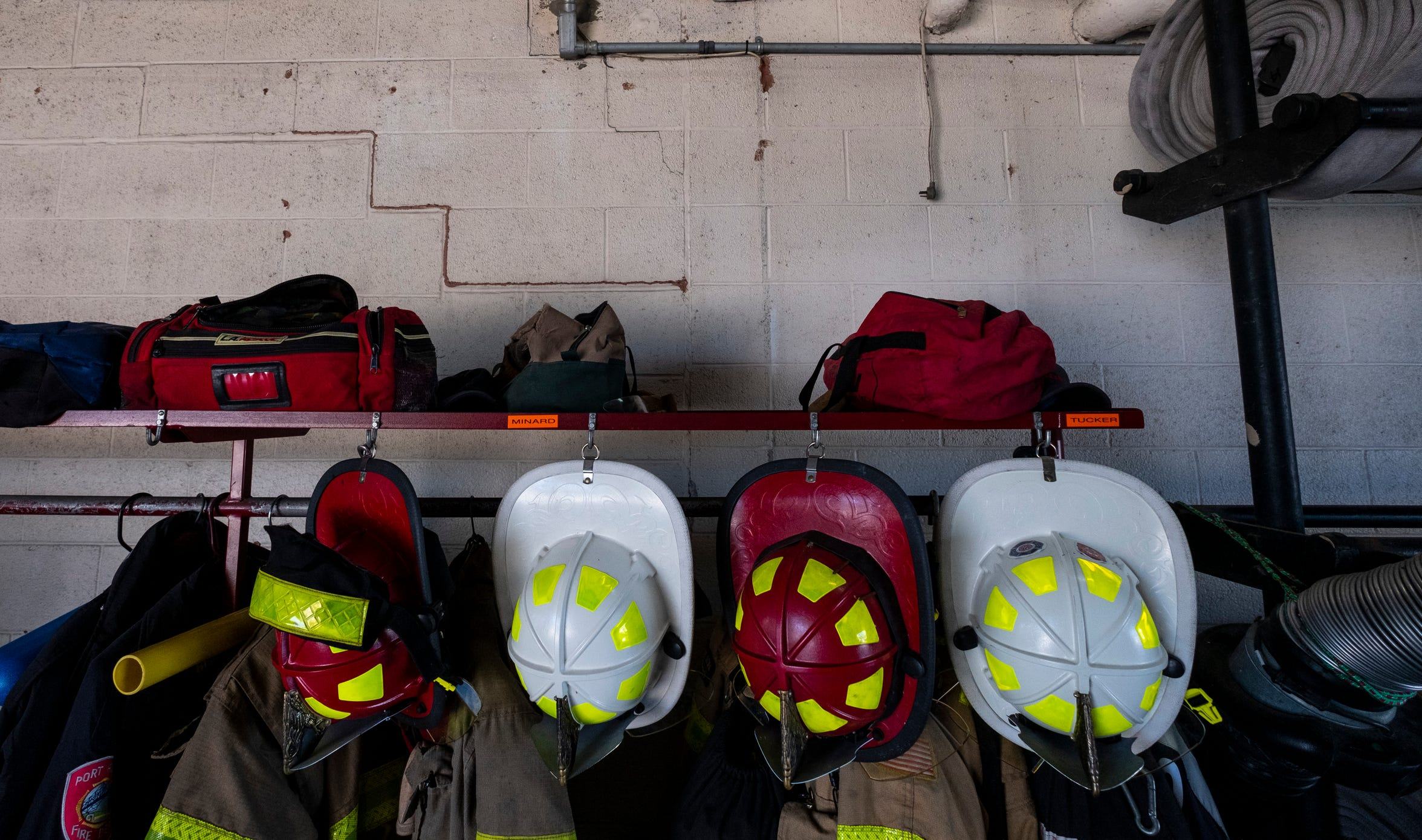 Cracks can be found in the brick walls throughout Port Huron Fire's Central Station.
